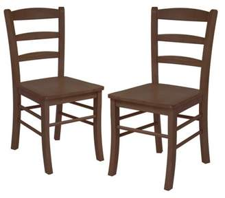 Winsome Ladder Back Chairs - Set of 2, Antique Walnut