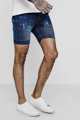 boohoo Stretch Skinny Fit Denim Biker Shorts