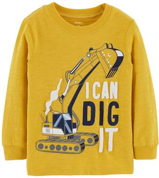 """Carter's Baby Boy I Can Dig It"""" Construction Slubbed Graphic Tee"""