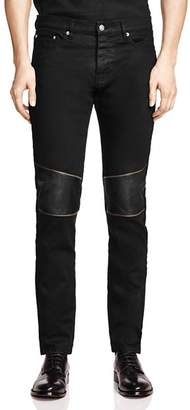The Kooples Straight Fit Jeans with Leather Patches in Black