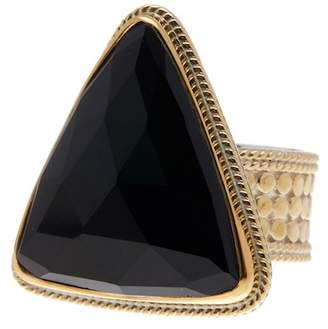Anna Beck 18K Gold Plated Sterling Silver Black Onyx Triangle Ring