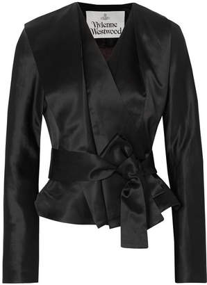 Vivienne Westwood Belted Satin Wrap Jacket - Black