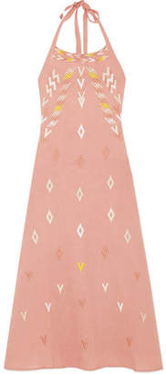 All Things Mochi - Gina Embroidered Linen Halterneck Dress - Blush