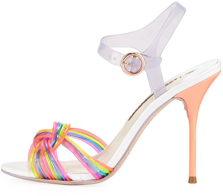 Webster Sophia Coralie Ankle-Wrap Jelly Sandal, Multi