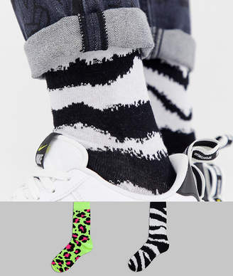 Asos Design DESIGN socks in fluro animal print design 2 pack