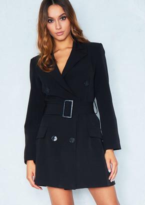2f75c26f4428 Missy Empire Missyempire Leandra Black Belted Blazer Dress