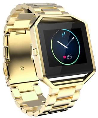 Fitbit YESOO Luxury Stainless Steel Wrist Strap Metal Frame Housing + Premium Solid Stainless Steel Butteryfly Buckle Watch Band for Blaze Smart Fitness Watch (Large - Gold)