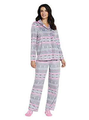 Karen Neuburger Women's Long Sleeve Minky Fleece Pajama Set PJ,M