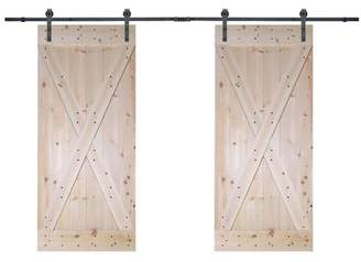 URBAN RESEARCH Calhome Solid Room Divider Wood Slab Interior Barn Door