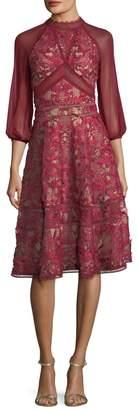 Marchesa Chiffon Sleeve Dress