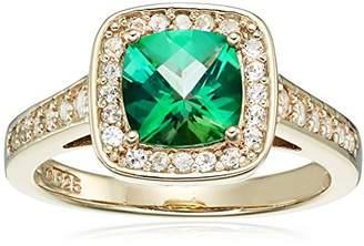 Rainforest Women's Yellow Gold Plated Sterling Silver Swarovski Natural Topaz Square Swarovski Halo Ring