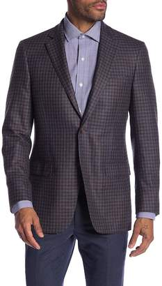 Hart Schaffner Marx Medium Blue Check Two Button Notch Lapel Classic Fit Blazer