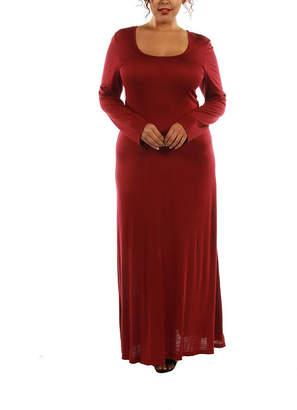 24/7 Comfort Apparel Scoop Neck Maxi Dress-Plus
