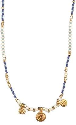 Chan Luu Seafoam Beaded Medallion Necklace