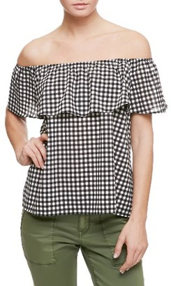 Women's Sanctuary Misha Ruffle Gingham Off The Shoulder Top $69 thestylecure.com