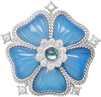 Judith Ripka Sterling Gemstone Flower Pin