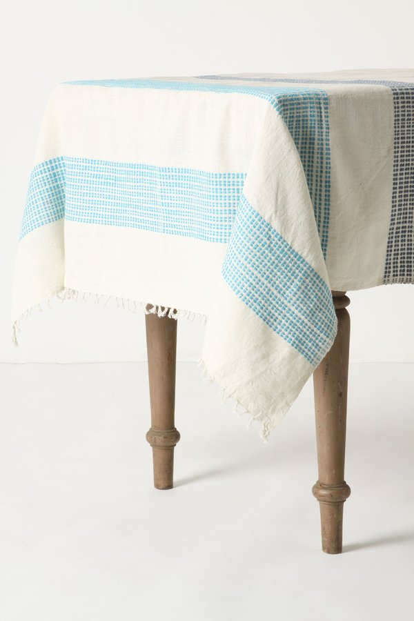 Anthropologie Dashed Azure Tablecloth
