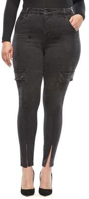 Good American Good Legs Slit Hem Cargo Skinny Jeans