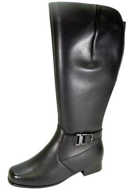 Peerage PEERAGE Gillian Women Extra Wide Width Wide Calf Water Resistant Leather Riding Boots BLACK 9