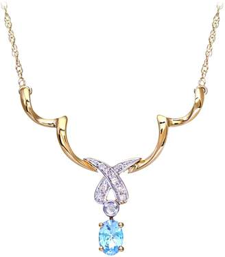 Naava Women's Diamond and Blue Topaz Necklace Prong Set 9 ct White Gold Trace Chain 0.05 ct Diamond Weight