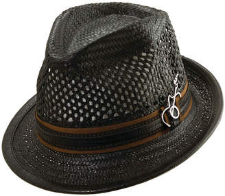 Asstd National Brand Vented Toyo Fedora with Leather Band