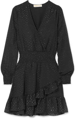 MICHAEL Michael Kors Wrap-effect Ruffled Fil Coupé Georgette Mini Dress - Black