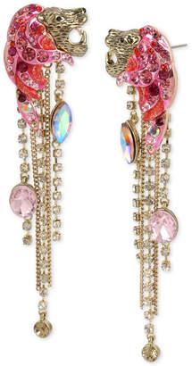 Betsey Johnson Gold-Tone Crystal & Stone Fringe Drop Earrings