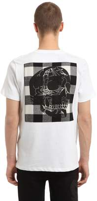 Hydrogen Skull & Check Cotton Jersey T-Shirt
