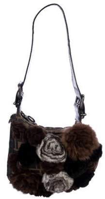 Fendi Fur Rosette Zucca Oyster Bag Brown Fur Rosette Zucca Oyster Bag