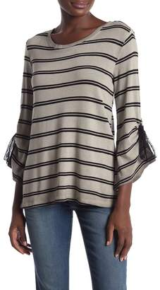 Democracy Tie Bell Sleeve Striped Tee