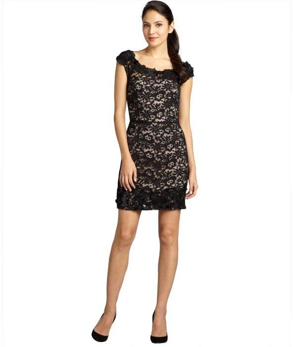 Vera Wang Lavender Label black satin and chantilly lace embellished sleeveless dress