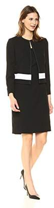 Tahari by Arthur S. Levine Women's Pebble Crepe Topper Jacket with Sheath Dress Suit