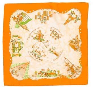 Hermes Les Triplés Silk Pocket Square