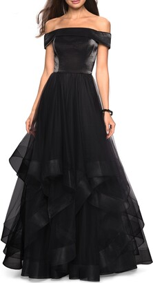 La Femme Off the Shoulder Evening Dress