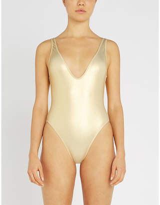 Solid & Striped Michelle metallic V-neck swimsuit