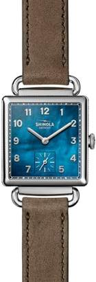 Shinola Cass Leather Strap Watch, 28mm