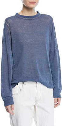 Brunello Cucinelli Crewneck Long-Sleeve Pullover Linen Top with Monili Topstitching