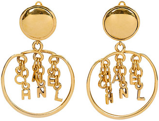 One Kings Lane Vintage 1980s Chanel Dangling Letters Earrings - Vintage Lux