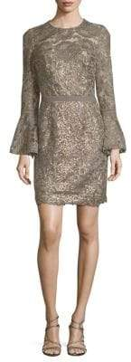 Tadashi Shoji Sequin Floral Lace Bell Sleeve Dress