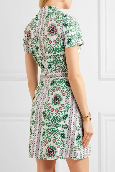 Tory Burch - Port Printed Cotton-blend Mini Dress - Green 4