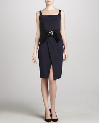 Donna Karan Jewel-Belt Crepe Dress