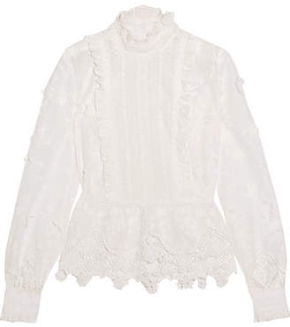 Anna Sui Daisy Fields Silk-blend And Broderie Anglaise Cotton Blouse - White