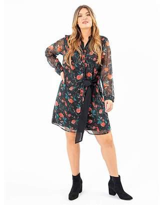 Koko Tie Front Floral Shirt Dress