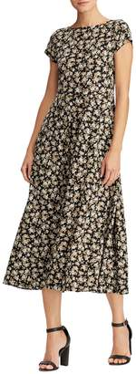Chaps Floral Cotton Fit Flare Dress