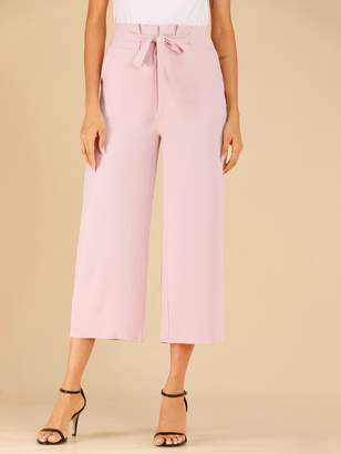 Shein Tie Front Shirred Waist Wide Leg Trousers