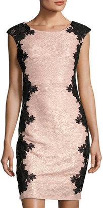 JAX Cap-Sleeve Lace-Trim Sheath Dress, Blush $99 thestylecure.com