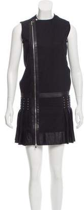 Diesel Black Gold Leather-Trimmed Mini Dress