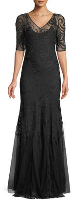 Ralph Lauren 50th Anniversary V-Neck Short-Sleeve Trumpet Embroidered Evening Gown