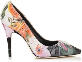 Jimmy Choo ANNE 100 Floral Printed Chisel Toe Pumps with Ruched TPU