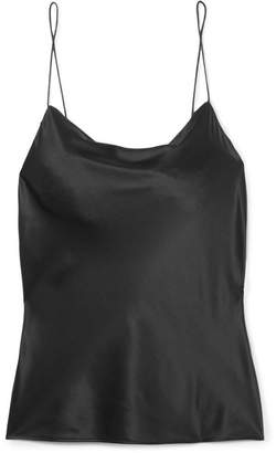 CAMI NYC The Axel Draped Silk-charmeuse Camisole - Black